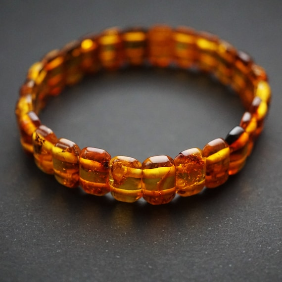 7g Natural Baltic Amber Bracelet, Small Amber Bracelet, Cognac Amber Bracelet
