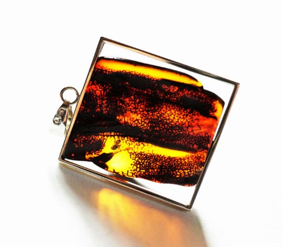 16g Baltic Amber Sterling Silver Pendant/Necklace, Yellow/Cherry Amber