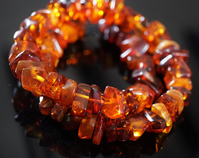 48g Yellow Cognac Natural Baltic Amber Neclace, Genuine Amber Necklace