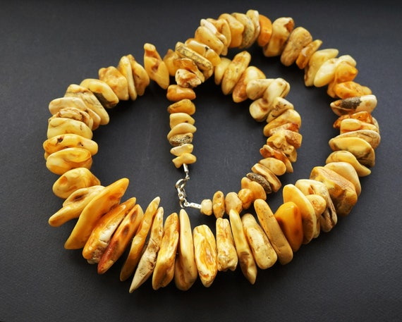 316g. Huge Natural Baltic Amber Bead Necklace, Butterscotch Amber Necklace, Chunky Amber Beads, White Amber Colour