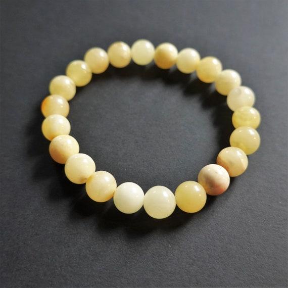 5,8g.White/Yellow Baltic Amber Bracelet, Genuine Amber Bracelet, Beaded Bracelet, Untreated Amber, Organic, Natural