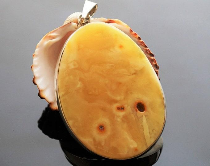 33,8g Butterscotch Baltic Amber Pendant, Sterling Silver Baltic Amber Pendant, Natural Amber Pendant, Genuine Amber