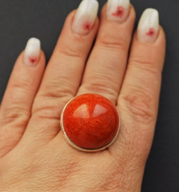 16,9g Sterling Silver Red  Coral Ring