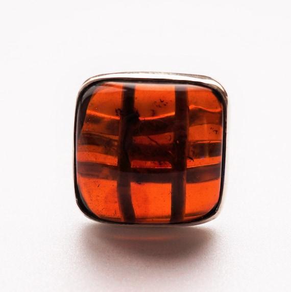 11.5g. Baltic Amber Ring, Cherry Amber Ring, Square Amber Ring