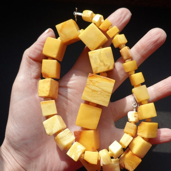 83g. Huge Baltic Amber Necklace, Genuine Amber Necklace, Butterscotch Amber, Untreated Amber