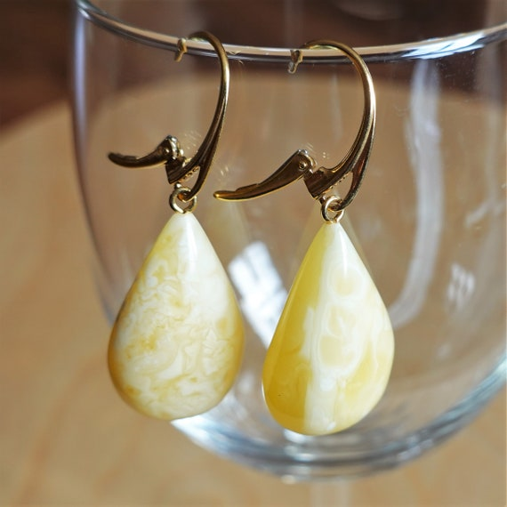 7g. White/Yellow Baltic Amber Earrings, Dangle Amber Earrings, Genuine Amber, Large Earrings, Not Modified Amber