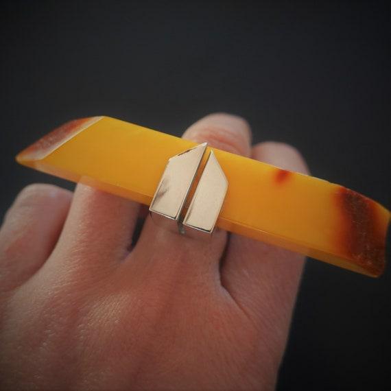 22.8g  Butterscotch Baltic Amber Ring, E.Salwierz Design Ring, Genuine Amber, Unique Ring Design