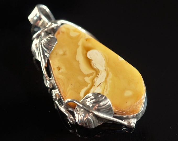 17,5g Genuine Baltic Amber Pendant, Butterscotch, Honey Baltic Amber, Sterling Silver