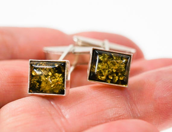 5g. Green Amber, Sterling Silver Cufflinks, Gemstone Cufflinks