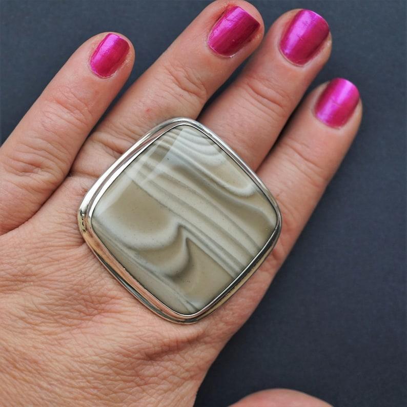 49,7g  Big Striped Flint Ring Oversized Ring Sterling Silver Ring