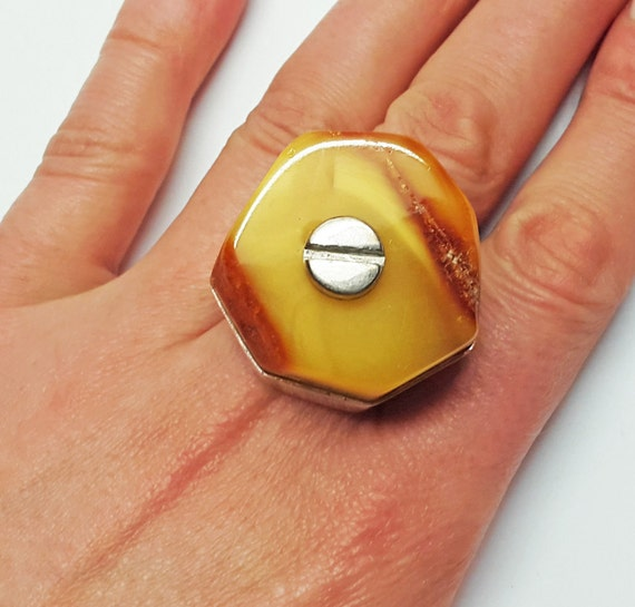 23g Handmade Baltic Amber Ring