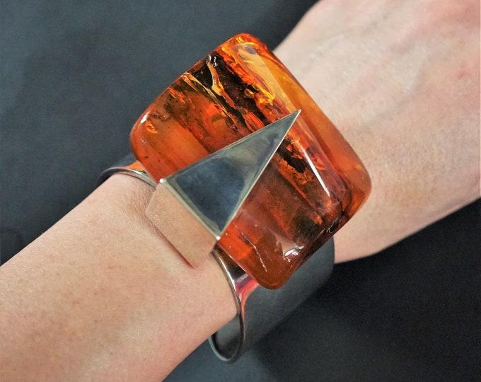 102g. Baltic Amber Bracelet, E.Salwierz Design, Honey Amber, Unique Gift , Butterscotch Amber, Modern Design