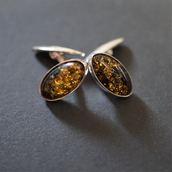 6g. Green Amber, Sterling Silver Cufflinks, Gemstone Cufflinks, Green Amber Cufflinks