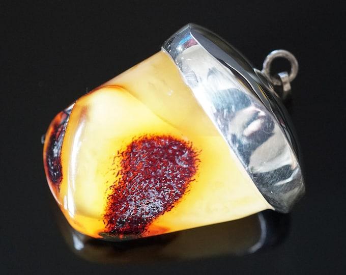 27,6g Butterscotch/Yellow  Baltic Amber Pendant, Sterling Silver Baltic Amber Pendant, Natural Amber Pendant, Genuine Amber