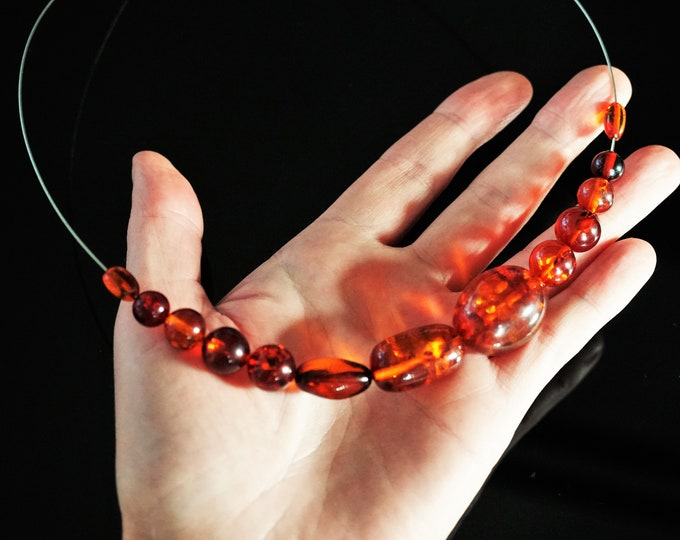 16g. Cognac Baltic Amber Necklace, Olive Beads Amber Necklace