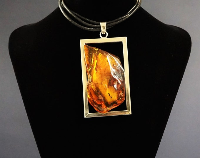 67g. E. Salwierz Design Baltic Amber Necklace, Genuine Amber, Huge Amber Necklace, Yellow Amber