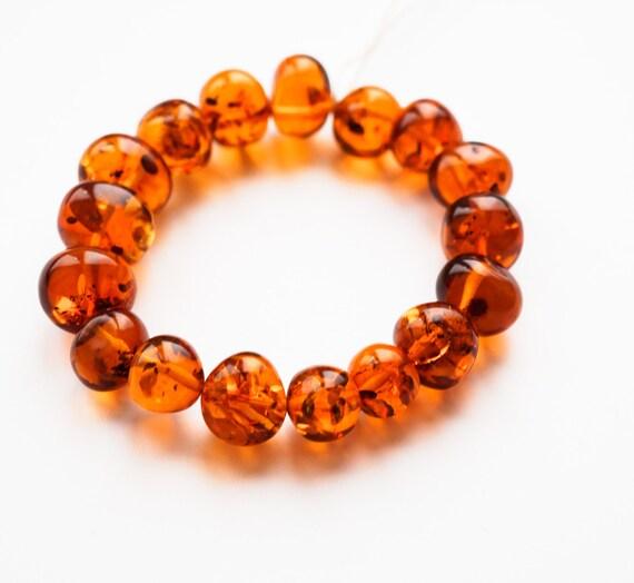 17g. Baroque Amber Bracelet, Natural Amber, Cognac Amber Bracelet, Organic Amber, Genuine Amber Bracelet