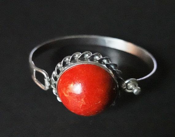 32g Sterling Silver Red  Coral Bracelet