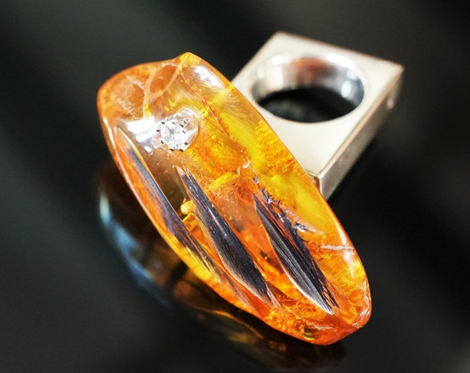 23,2g E. Salwierz  Baltic Amber Ring, Huge Ring, Artistic Jewellery