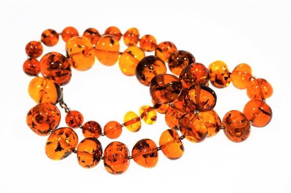 60g. Genuine Natural Baltic Amber Necklace- Amber Balls, Cognac Amber, Not Pressed