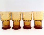 Vintage Mid Century Modern Glasses - Cocktail Glasses - Libbey Glass Larger Size 1970 39 s Flower Power - Country Garden Amber Glasses