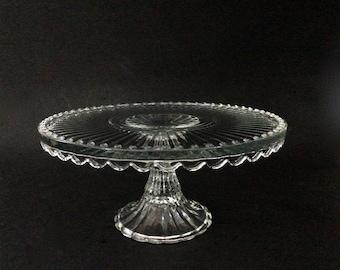 Vintage Crystal Pedestal Cake Platter with Large Scalloped Edges and Flower Center with Starburst