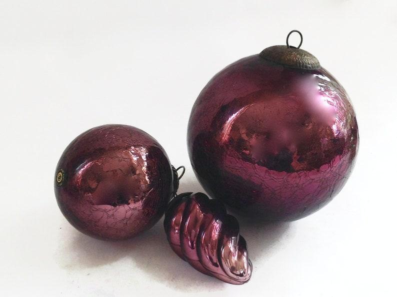 Vintage Kugel Christmas Ornaments Purple Crackle Glass Ornaments German Kugel Ornaments Purple Kugel Very Large 6 4 4 Swirl