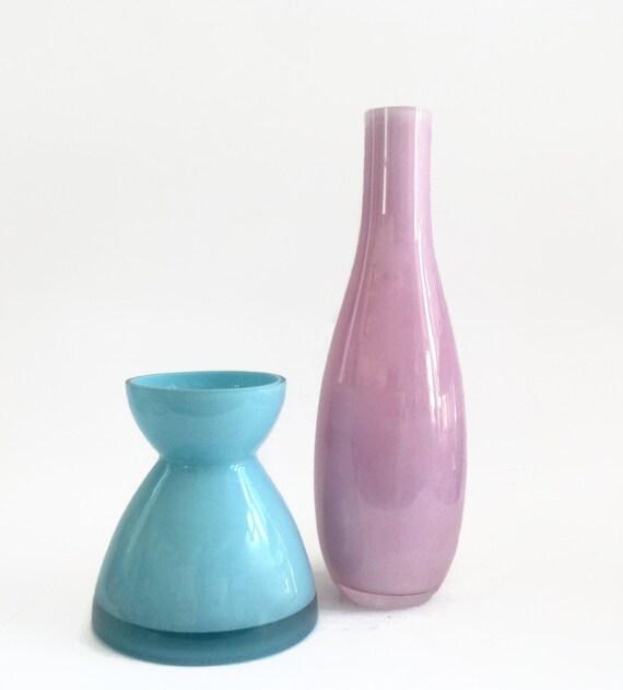 Vintage Set Scandinavian Design Vases Sky Blue Glass Vase