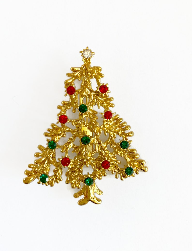 Goldtone Christmas Tree Christmas Brooch Ruby Emerald Chrystal Rhinestones Christmas Pin Vintage Christmas Tree Pin