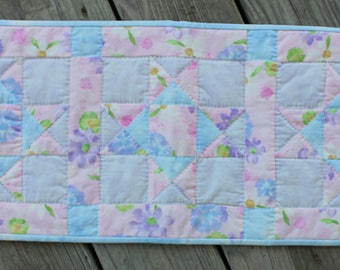 Pastel Blue, Lavender & Pink Table Runner / Table Topper / Hand Quilted Table Runner
