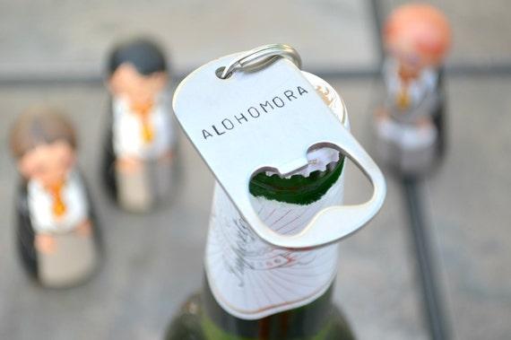 Alohomora Bottle Opener Hand Stamped Keychain! Barware For Older Fans. Optional Heart Or Lightning Bolt! Cool Birthday Gift. by Etsy