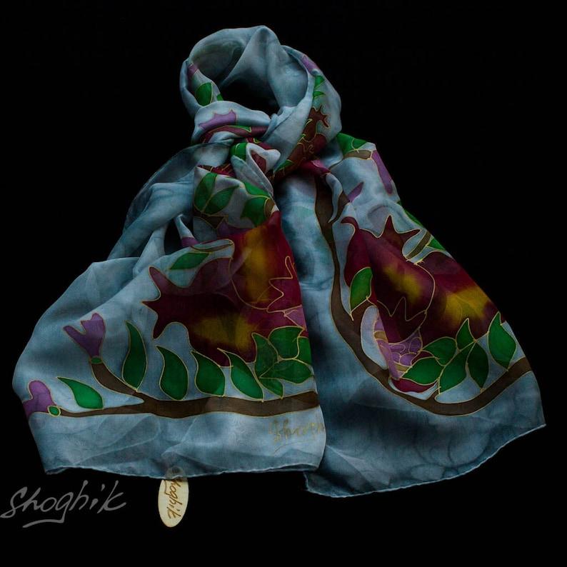 Hand Painted Silk Scarf Batik Gift Pink Armenian silk scarf Pomegranates Green Red Grey