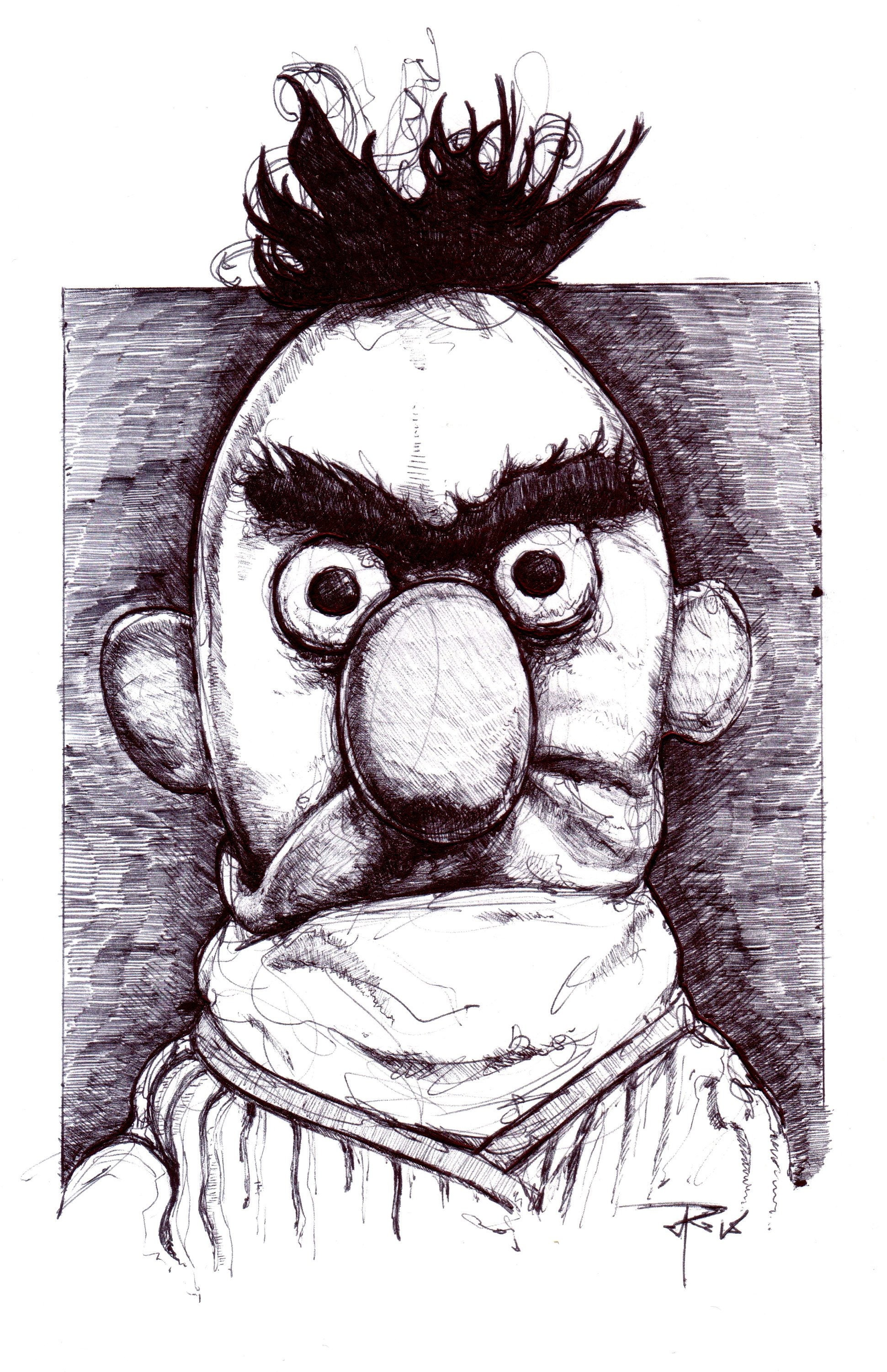 Angry Bert Ink Drawing 11x17 Fine Art Poster Print Etsy