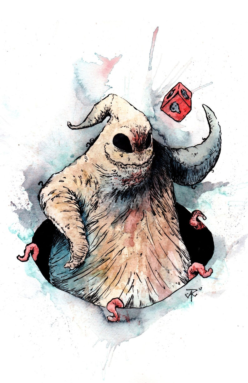 Nightmare Before Christmas Oogie Boogie Watercolor And Ink Etsy