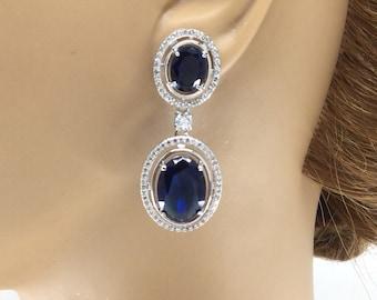 Sapphire Earrings, Oval Sapphire Earrings, Crystal Earrings, Sapphire Crystal Earrings, Bridesmaid Earrings, Sapphire Cubic Zirconia Earring