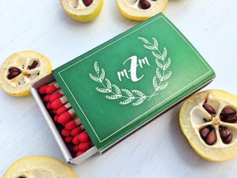 Monogrammed Matchboxes Matches With Your Design Last Name Matchbooks