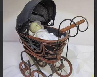 "Antique Wicker Rattan Baby Cam Carriage Buggy Inc & 8"" Vinyl Vogue doll EUC"