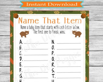 Woodland Friends Forest Friends Name That Item Baby Shower Game - Printable Instant Download