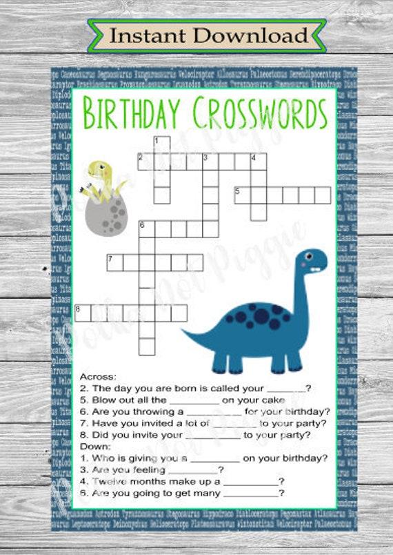 Dinosaur Birthday Party Crossword Puzzle Digital Instant Etsy