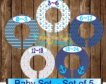 Nautical Themed Baby Closet Organizing Dividers - Assembled