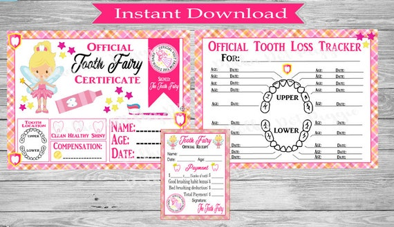 image regarding Tooth Fairy Certificate Printable Girl known as Female Teeth Fairy Package Blonde Lady Contains Misplaced Teeth Tracker/Enamel Fairy Certification/Receipt - Electronic Printable Immediate Down load