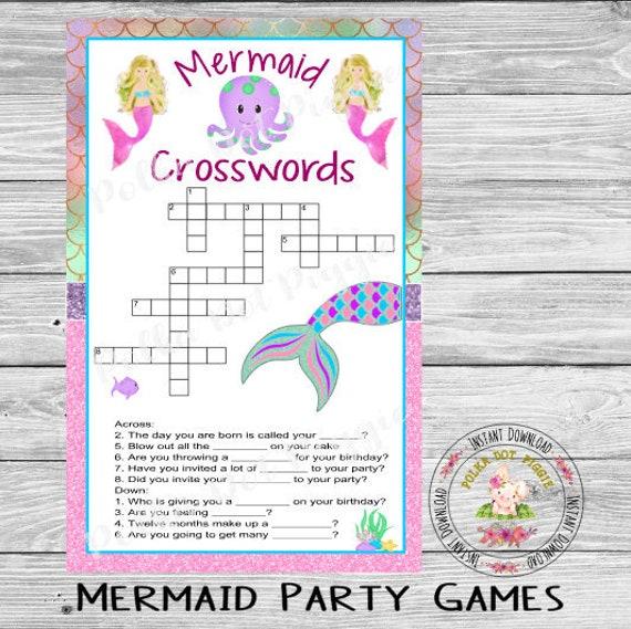 Mermaid Under The Sea Crossword Puzzle Games Birthday Etsy