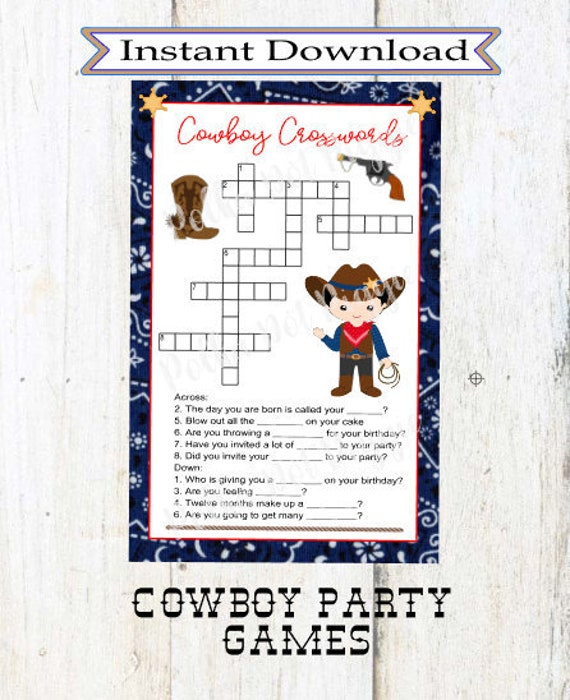 Cowboy Crossword Puzzle Games Birthday Party Bachelorette Etsy