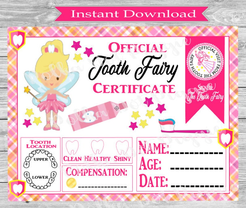 It's just a graphic of Clever Tooth Fairy Certificate Printable Girl