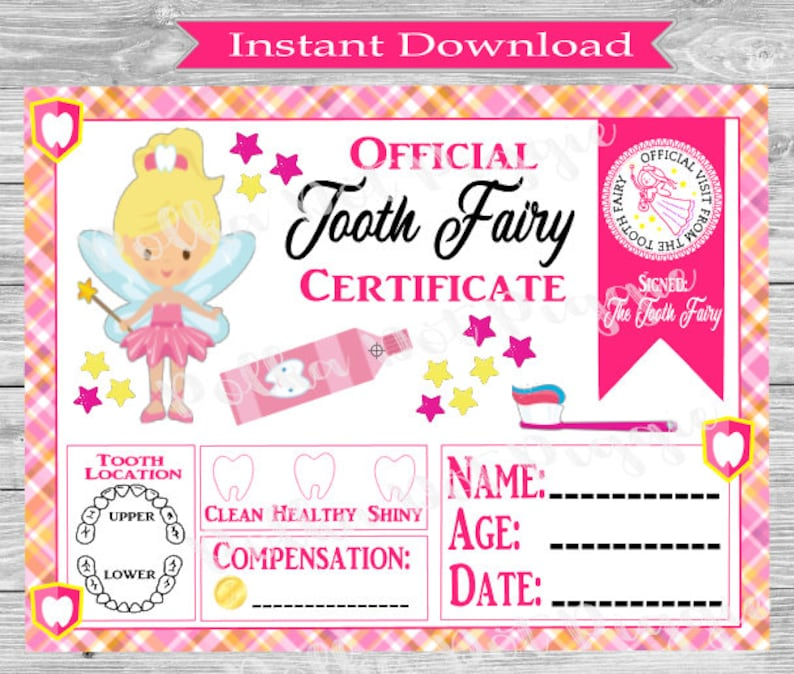 It is a photo of Clean Tooth Fairy Certificate Printable Girl