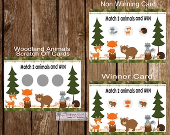 WOODLAND FRIENDS Forest Friends Scratch Off Lottery Baby Shower Cards - Set of 16