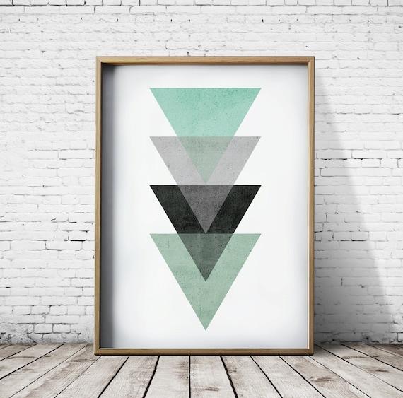 Verde stampa camera da letto arredamento camera da letto stampe stampe  geometriche Wall Art stampe moderne stampe geometriche Decor