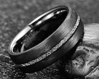 Dome Black Tungsten Wedding with Imitation Meteorite Inlay Jewelry Avalanche Meteorite Tungsten Ring