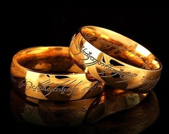 Details about  /Lord Of The Rings One Couple Ring Power Band Unisex Stainless Steel Size 7-12