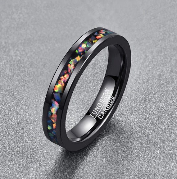 Thin Opal Inlay Tungsten Carbide Wedding Ring, Black Tungsten Wedding Ring,  Gemstone Womens Titanium Wedding Ring, Womens Engagement Ring